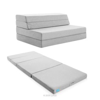 4 Inch Folding Sofa with Removable IndoorOutdoor Fabric Cover from LUCID