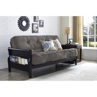 Better Homes and Gardens Wood Arm Futon with 8-Inch Coil Mattress