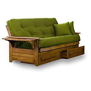 Brentwood Tray Arm Queen Size Wood Futon Frame and Storage Drawers