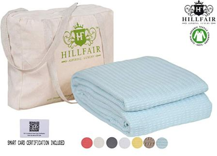 HILLFAIR 100% Certified Organic Cotton Blankets
