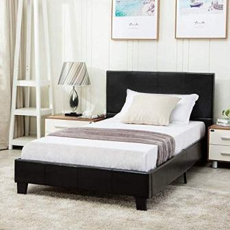 Mecor Faux Leather Bonded Twin Size Bed Frame