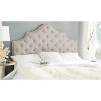 Safavieh Arebelle Taupe Linen Upholstered Tufted Headboard