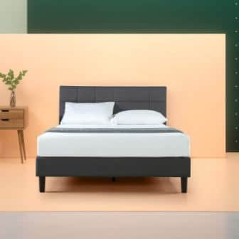 Zinus Lottie Upholstered Square Stitched Platform Bed- Twin