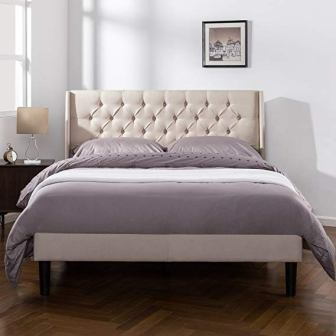 Zinus Upholstered Traditional Tufted Wingback Platform Bed