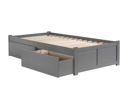 Atlantic Furniture AR8012119 Concord Platform Bed with 2 Urban Bed Drawers, Twin XL, Grey
