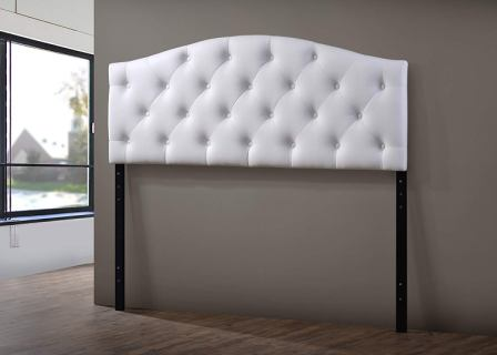 BAXTON STUDIO MYRA BUTTON-TUFTED SCALLOPED HEADBOARD