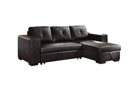 Black Faux Leather Sectional Sofa by ACME Lloyd
