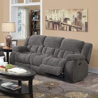 Coaster Home Furnishings Weissman Pillow Padded Motion Sofa, Charcoal