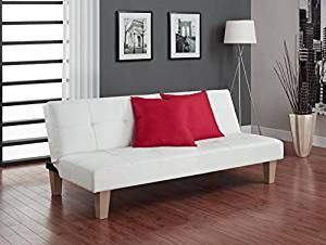DHP Tufted Faux Leather Aria Futon Couch