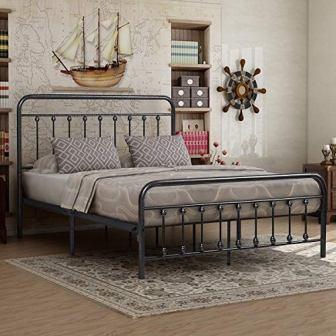Elegant Home Products Victorian Platform Iron Bed Frame