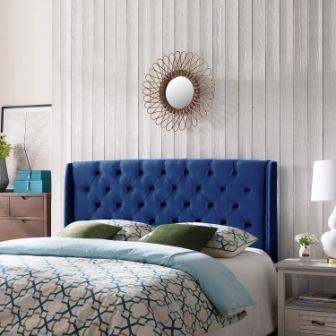 Great Deal Furniture Emma Wingback Queen Full Tufted Navy Blue Velvet Headboard