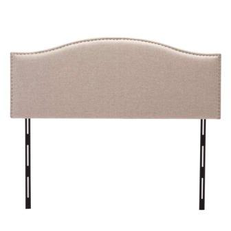 Haobo QueenFull Adjustable Velvet Upholstered Headboard with Nail Head Trim