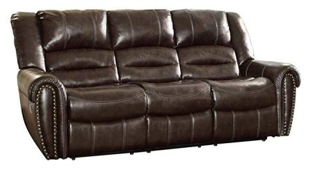 Homelegance Center Hill 90″ Bonded Leather Double Reclining Sofa , Brown