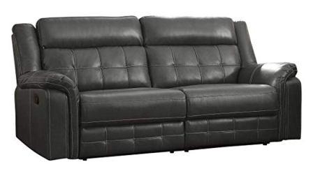 "Homelegance Keridge 85"" Leath-Aire Reclining Sofa, Gray"
