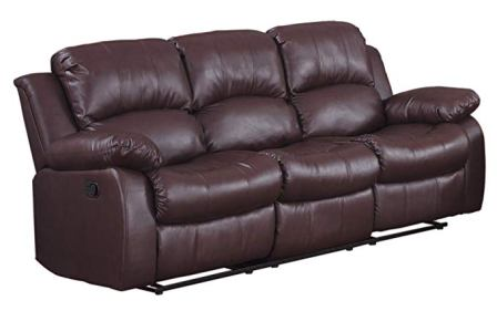 Homelegance Resonance 83″ Bonded Leather Double Reclining Sofa, Brown (Top Pick)