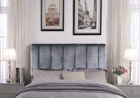 Iconic Home Uriella Vertical Striped Velvet Upholstered Headboard