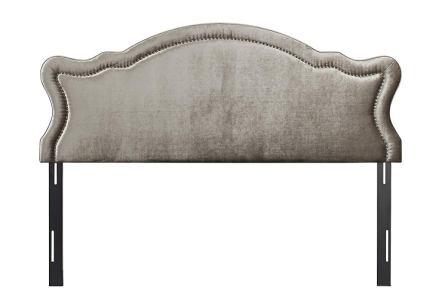 Jennifer Taylor Home Legacy Grey Velvet Upholstered Adjustable Headboard with Hand-Applied Nail Head Trim