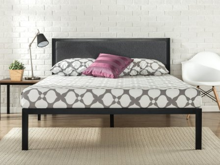 Korey Metal Platform Bed Frame with Upholstered Headboard by Zinus