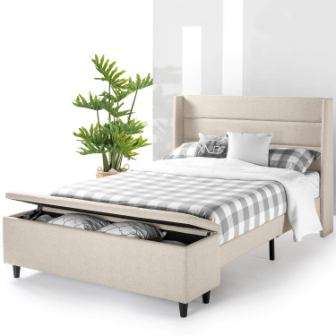 Mellow Peekaboo Wingback Platform Bed with Built-In Storage
