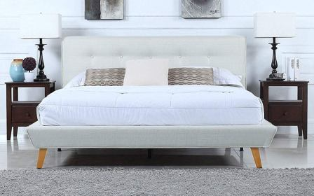 Mid-Century Platform Bed Frame with Tufted Headboard by Divano Roma Furniture