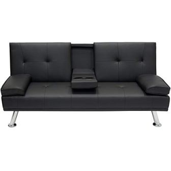 Modern Faux Leather Futon Sofa Bed by Best Choice Products
