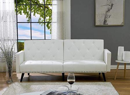 Naomi Home Convertible Tufted Futon Sofa Bed