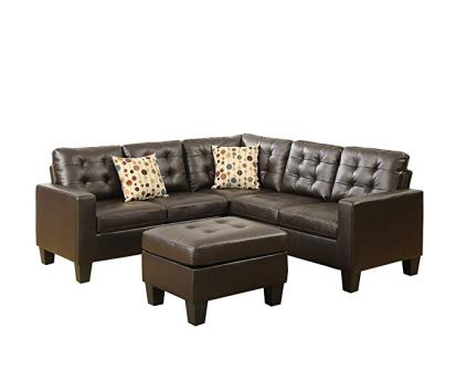 Poundex Bobkona Claudia Bonded Leather Sectional Sofa
