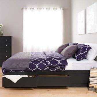 Prepac BBK-8400-K King Sonoma Platform Storage Bed with 6 Drawers, Black