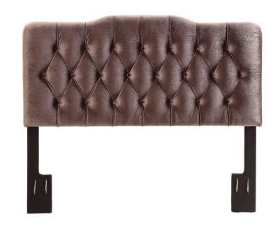 Pulaski Slate Grey Velvet Upholstered Soft Shape Headboard