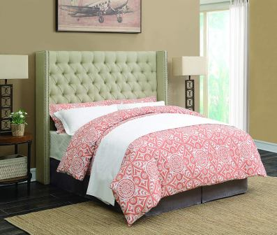 Scott Living Benicia Upholstered Bed with 5 Slatted Panel Design
