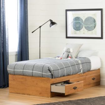 South Shore Prairie Collection Twin Bed with Storage – Platform Bed with 3 Drawers – Country Pine Finish
