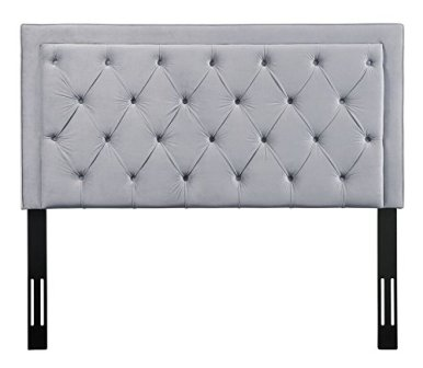 TOV Furniture Nacht Collection Grey Tufted Velvet Upholstered Headboard
