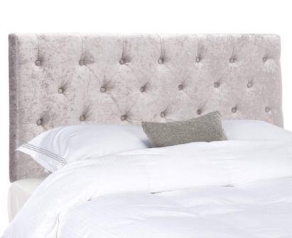 Tufted Light Grey Velvet Upholstered Headboard
