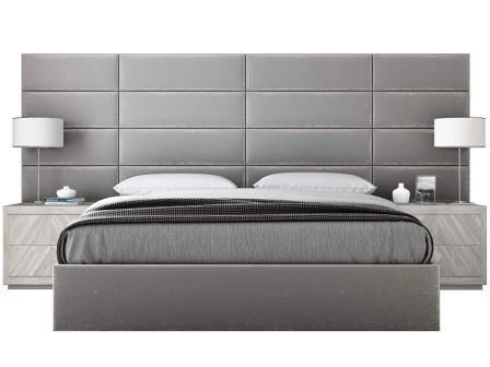 VANT Platinum Grey Plush Velvet Upholstered Headboard – Packs of 4 – Full-Queen Headboard