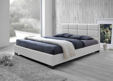 Vivaldi White Faux Leather Padded Platform Bed by Baxton Studio