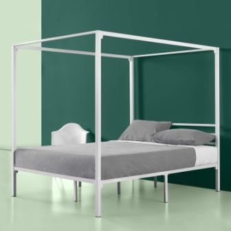 Zinus Patricia White Metal Framed Canopy Bed