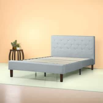 Zinus Shalini Upholstered Diamond Stitched Platform Bed, Full