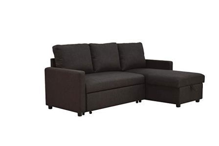 ACME Hiltons Charcoal Linen Sectional Sofa