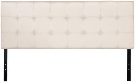 AmazonBasics Faux Linen Upholstered Headboard – Beige, Full