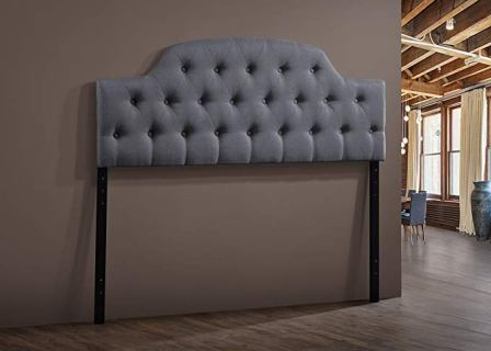 Baxton Studio Morris Modern & Contemporary Fabric Upholstered Button-Tufted Scalloped Headboard