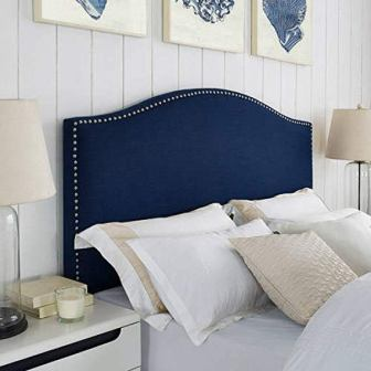 Classic Arched-Silhouette Design Linen Headboard with Nailheads
