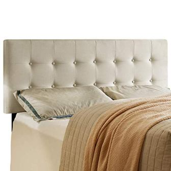 HOME BI Upholstered Tufted Button Fabric Headboard