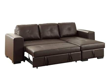 Poundex Bobkona Nathan Faux Leather Sectional Sofa