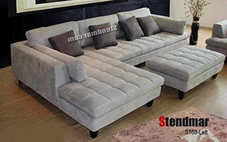 Stendmar 3pc Contemporary Grey Microfiber Sectional Sofa