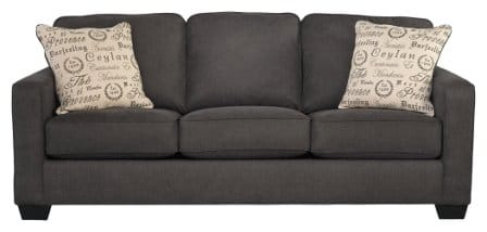 Ashley Furniture Signature Design - Alenya Sleeper Sofa with 2 Throw Pillows - Queen Size - Vintage Casual – Charcoal