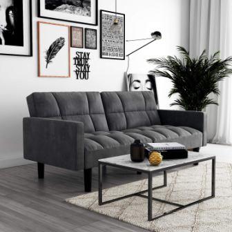 DHP Hayden Convertible Sofa Sleeper Futon with Arms – Grey Microfiber