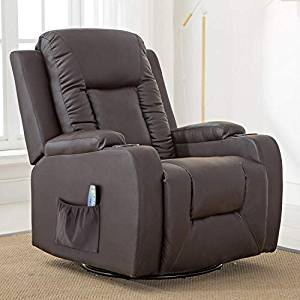 ComHoma – Leather Recliner Chair Modern Rocker with Heated Massage