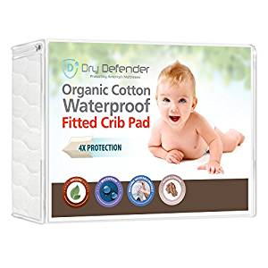 Dry Defender Organic Cotton Fitted Crib Mattress Cover and Protector
