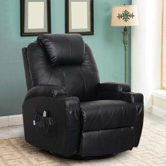 Esright – Massage Recliner PU Leather Ergonomic Lounge Heated Chair