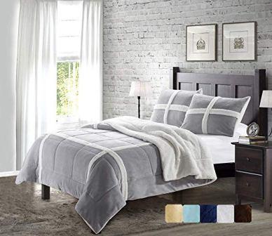 DE MOOCCI Reversible Fleece Comforter Set